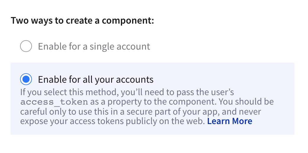 Enable Components for all accounts
